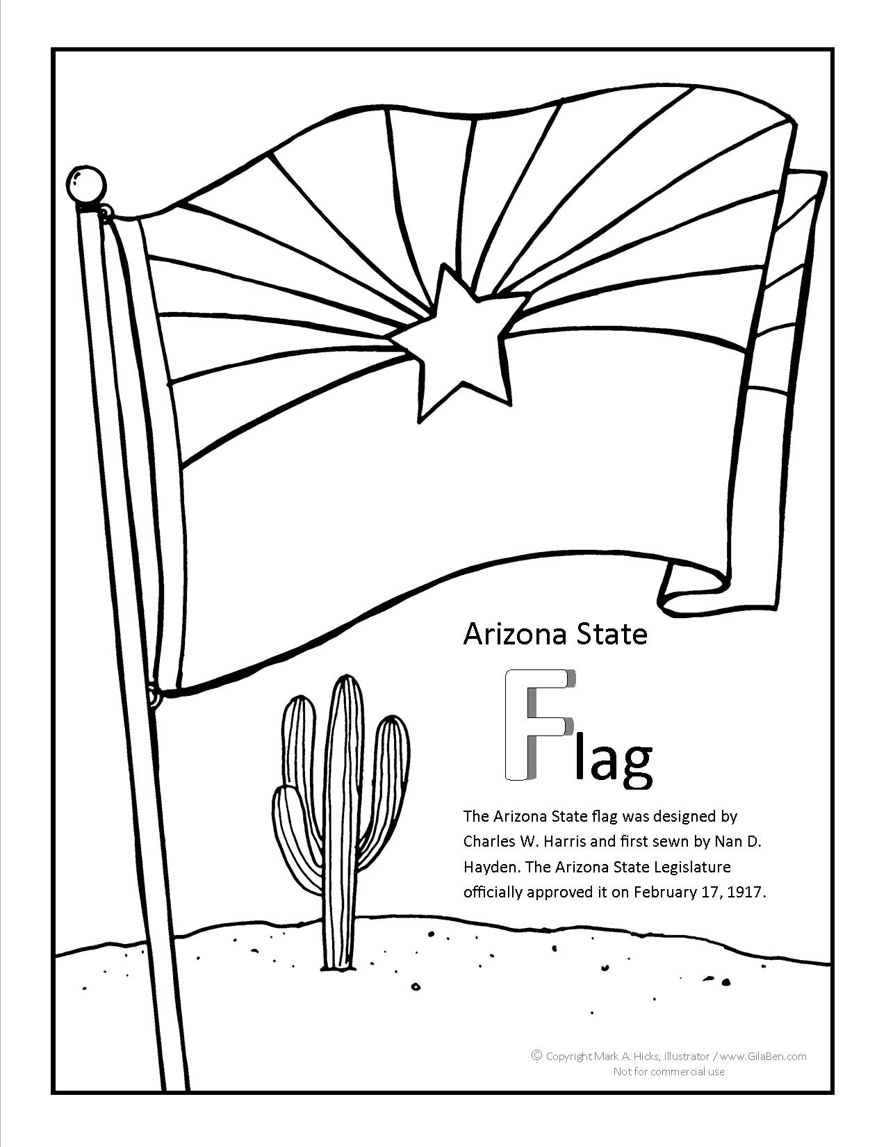 Arizona State Flag Coloring Sheet | Coloring Pages